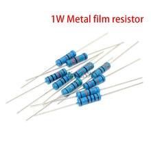 50pcs 1W filme De Metal resistor 1% 0.1R ~ 2.2M 10R 22R 47R 100R 330R 47 22 10 1K 4.7K K K K 100K 330K 470K 1 2 10 22 47 100 330 1M ohm