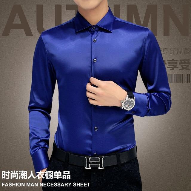 Plus Size 5XL 2021 New Men's Luxury Shirts Wedding Dress Long Sleeve Shirt Silk Tuxedo Shirt Men Mercerized Cotton Shirt 2