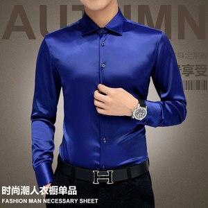 Image 2 - 플러스 사이즈 5XL 2020 새로운 남성 럭셔리 셔츠 웨딩 드레스 긴 소매 셔츠 실크 턱시도 셔츠 남성 Mercerized 면화 셔츠