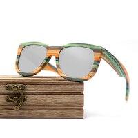 Wayfarer full - Bambou teinte verte - Silver - Coffret en bois