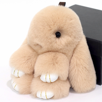 цена Cute Pluff Bunny Keychain Rex Genuine Rabbit Fur Key Chains For Women Bag Toys Doll Fluffy Lovely Pompom Keyring Car Key онлайн в 2017 году