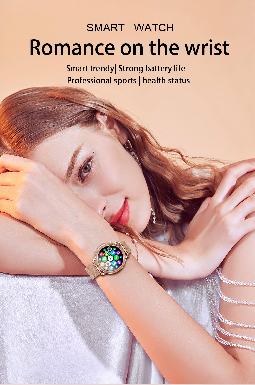 H6ca3a291474d448ea878df181863e4054 2021 Women Smart Watch 1.28 inch HD Screen IP67 Waterproof Lady's Watches Body Temperature Heart Rate Monitor PK V23