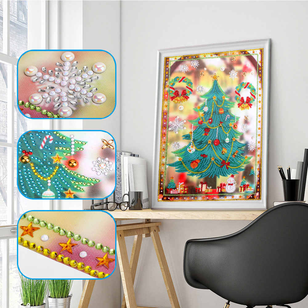 Christmas Tree Diamond Painting Special Shaped Diamond DIY 5D Partial Drill Cross Stitch Kits Crystal Rhinestone Picture Arts