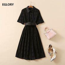 Женское ажурное платье с вышивкой Черное длинное рубашка отложным