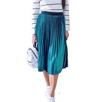 Damskie Vintage jesienno-zimowa damska aksamitna spódnica z wysokim stanem elegancka seksowna chuda czarna plisowana spódnica kobiece długie spódnice damskie tanie i dobre opinie Jadoutin COTTON Poliester NONE WOMEN women skirts Naturalne Stałe Na co dzień Połowy łydki Skirts Womens Long Skirt