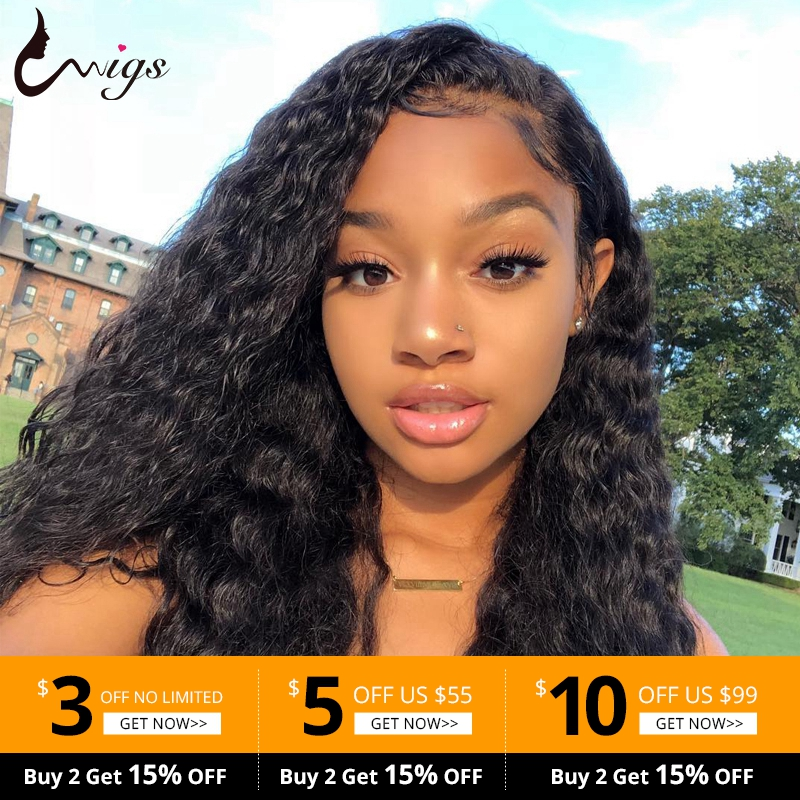 Uwigs Glueless Lace Front Human Hair Wigs Peruvian Water Wave Lace Closure Wig Pre Plucked With Baby Hair 4X4 &13X4 Remy Wigs