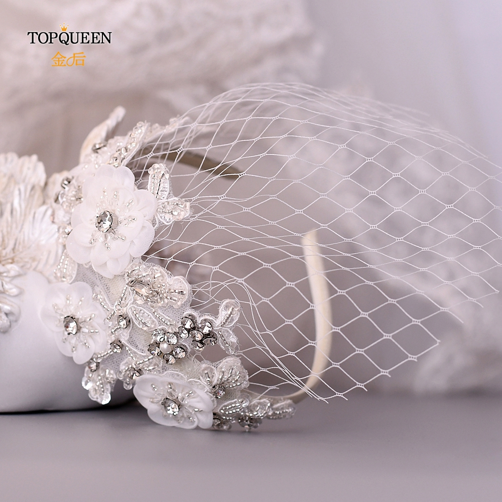 TOPQUEEN S358-WS Birdcage Veil Tiara Bridal Hair Accessories Veil Hat Head Hoop Wedding Headbands Wedding Tiara Bridal Headpiece