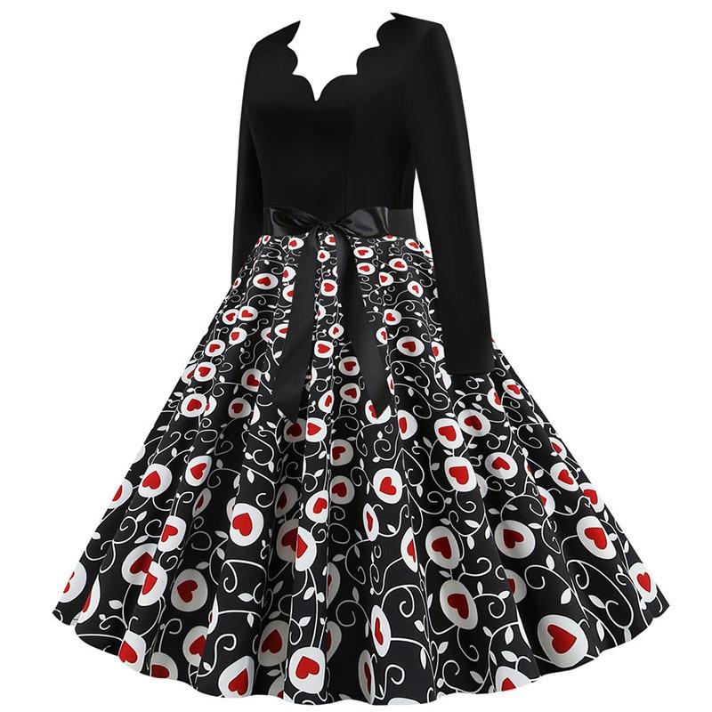 Women Long Sleeve Winter Vintage Dresses Sexy Black Music Note Print V-neck Rockabilly Pin up Party Dress Vestidos Plus size 650