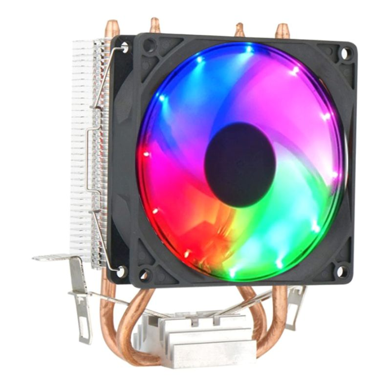 CPU Cooler Fan 4 Heatpipe Dual Tower 12V Cooling Fan Heat Sink with RGB LED Light for Intel LAG 1155 1156 775 for AMD Socket AM3 image