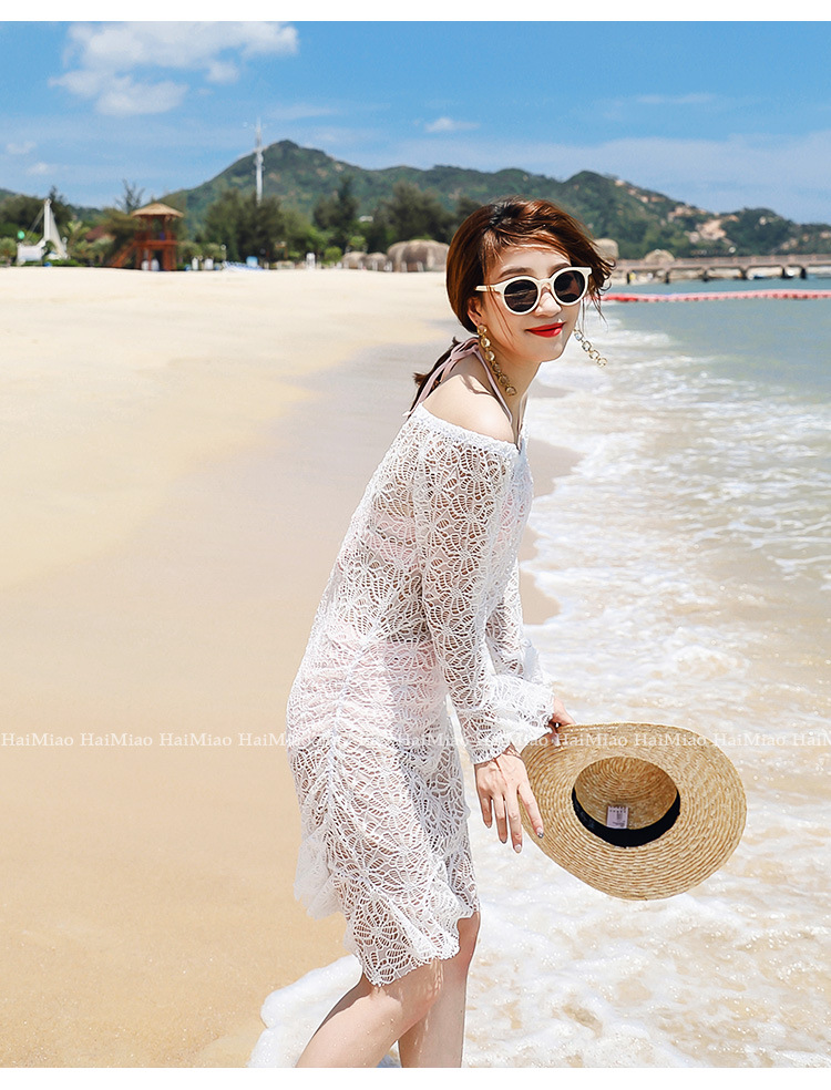 2018 Bikini Cover-up Women's Summer Coat Hollow Out Lace Loose-Fit Beach Outdoor Seaside Holiday Hot Springs Bathing Suit