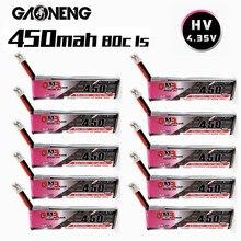 Gnb 1s 450mah 3.8v 80c max 160c 4.35v hv lipo bateria para m80s tiny7 beta75s emax tinyhawk snapper7 zangão com plugue ph2.0 10 pces
