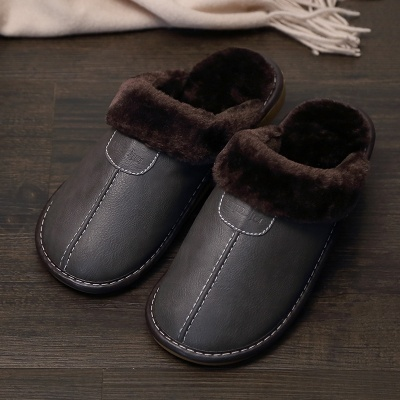 Men Slippers Black New Winter PU Leather Slippers Warm Indoor Slipper Waterproof Home House Shoes Women Warm Leather Slippers 4