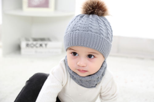 2Pcs Cute Toddler Kids Girl Boy Baby Infant Winter Warm Crochet Knit Hat Solid Beanie Cap Wool Kniting Hat Scarf Set