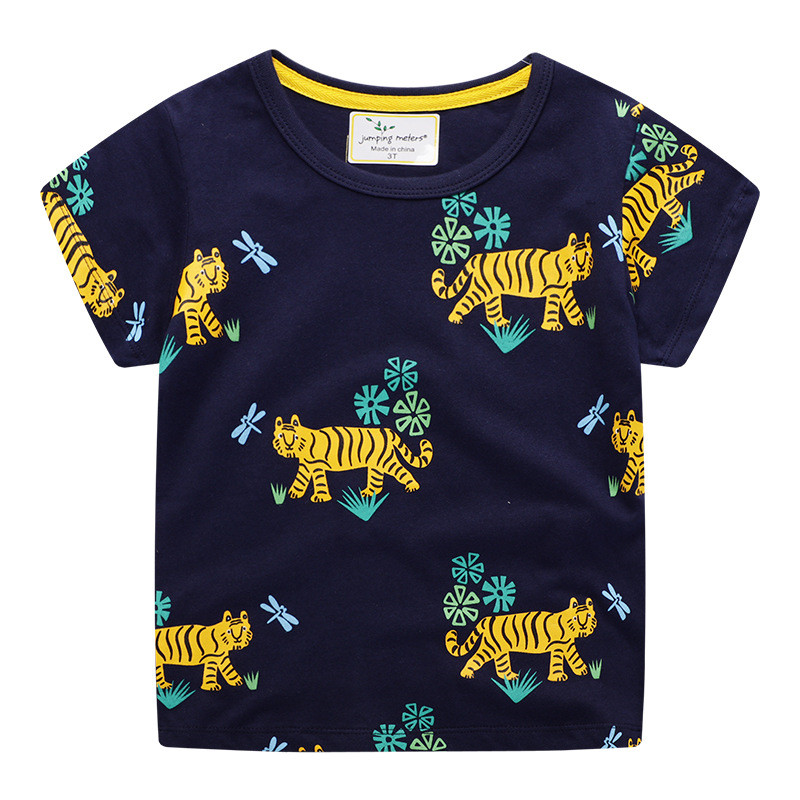 jumping meters Baby Boys Cartoon T shirt Kids New Tees Short Sleeve Summer Clothes With Printed Dinosaurs Top Children T shirts 10