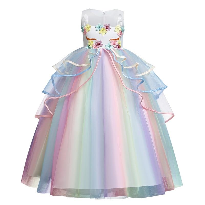 Fancy Baby Girl Rainbow Unicorn Girls Dress Party Elegant Children Kids Long Tutu Gown Princess Dresses Teen Girl 10 12 14 Years 3
