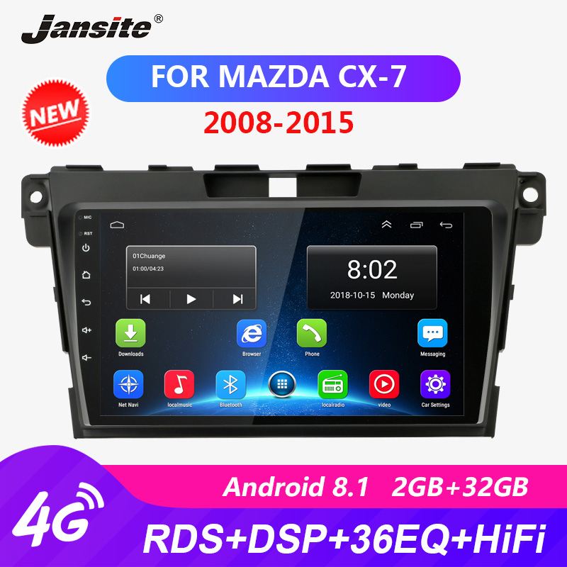 Jansite RDS 9 Android Car Radio For Mazda CX7 2008 2015 DSP Touch screen player HIFI function 2G+32G ROM coche video with frame