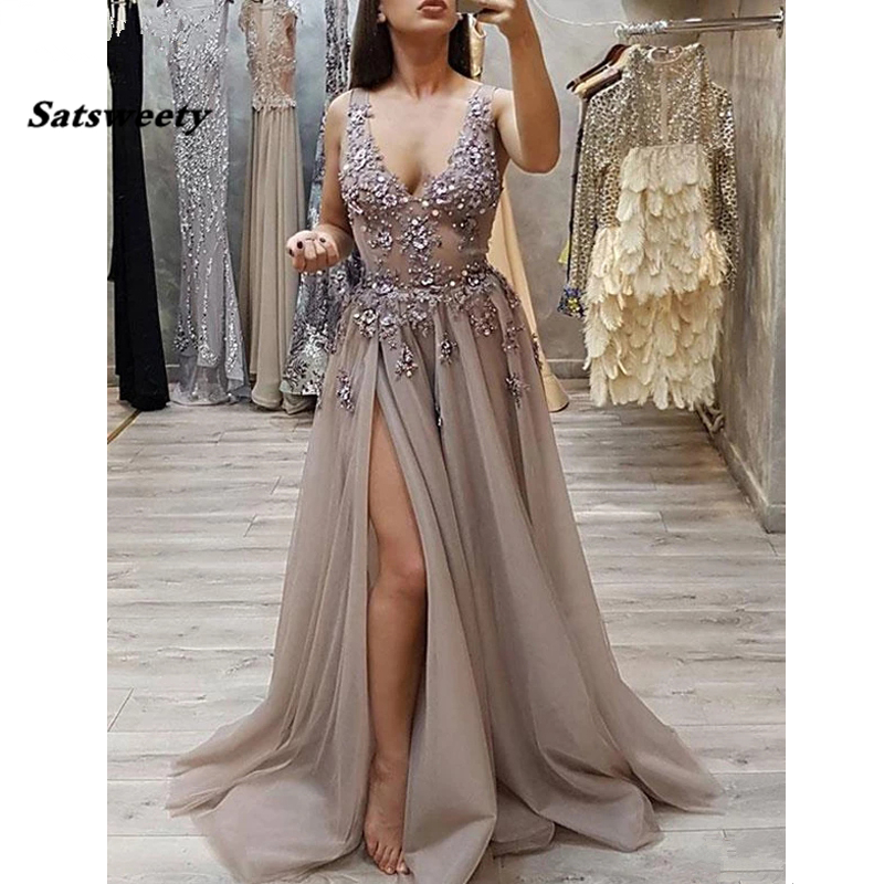 Latest Fashion V Neck Gray   Prom     Dresses   Long With Appliques Beading Sexy Side Slit Tulle Evening   Dress     Prom   Party Gown 2020