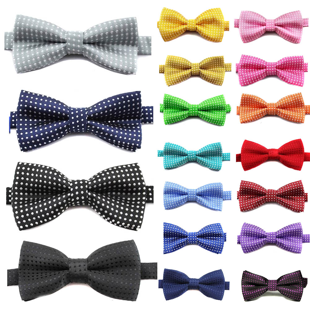 Cute Polka Dot Bow Tie For Cool Kids Boys Slim Skinny Butterfly Bowtie Tuxedo Neck Ties For Party Pet Show Neckwear Corbatas