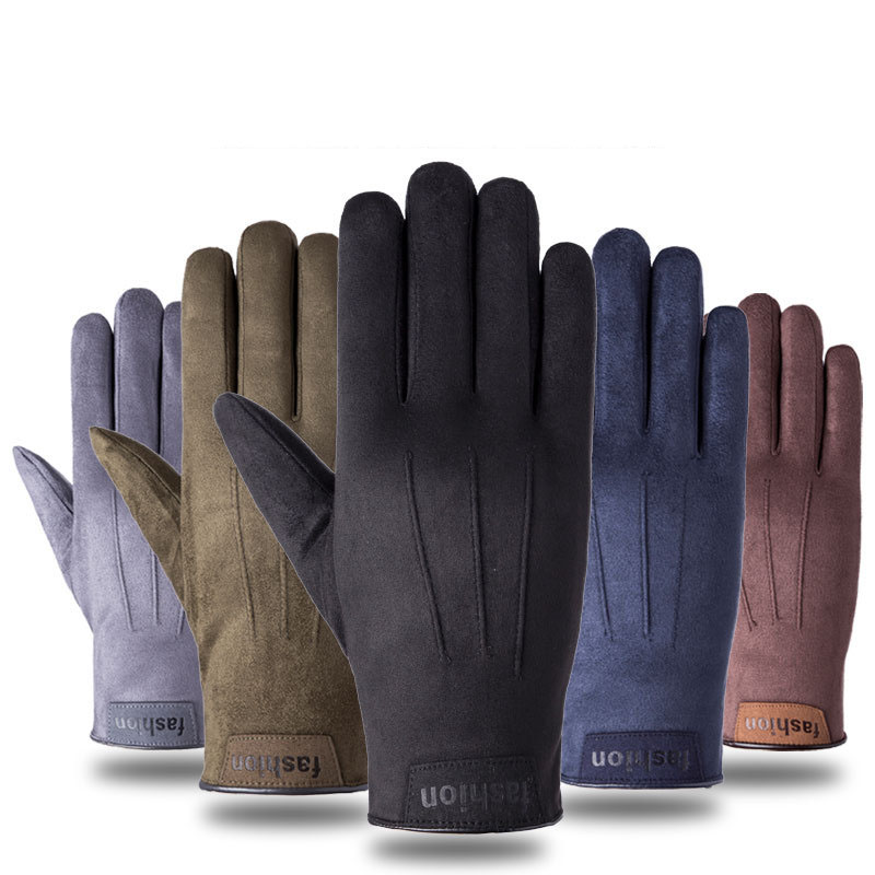 Winter Korean Version Of Warm And Velvet Suede Touch Screen Gloves Men Outdoor Riding Hiking Driving Non-Slip Gloves