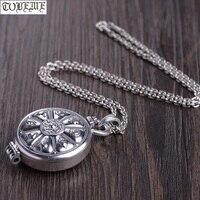 100% 990 Silver Tibetan Gau Pendant Necklace the Eight Buddhist Auspicious Sacred Symbols Pendant Buddhist Prayer Box Pendant