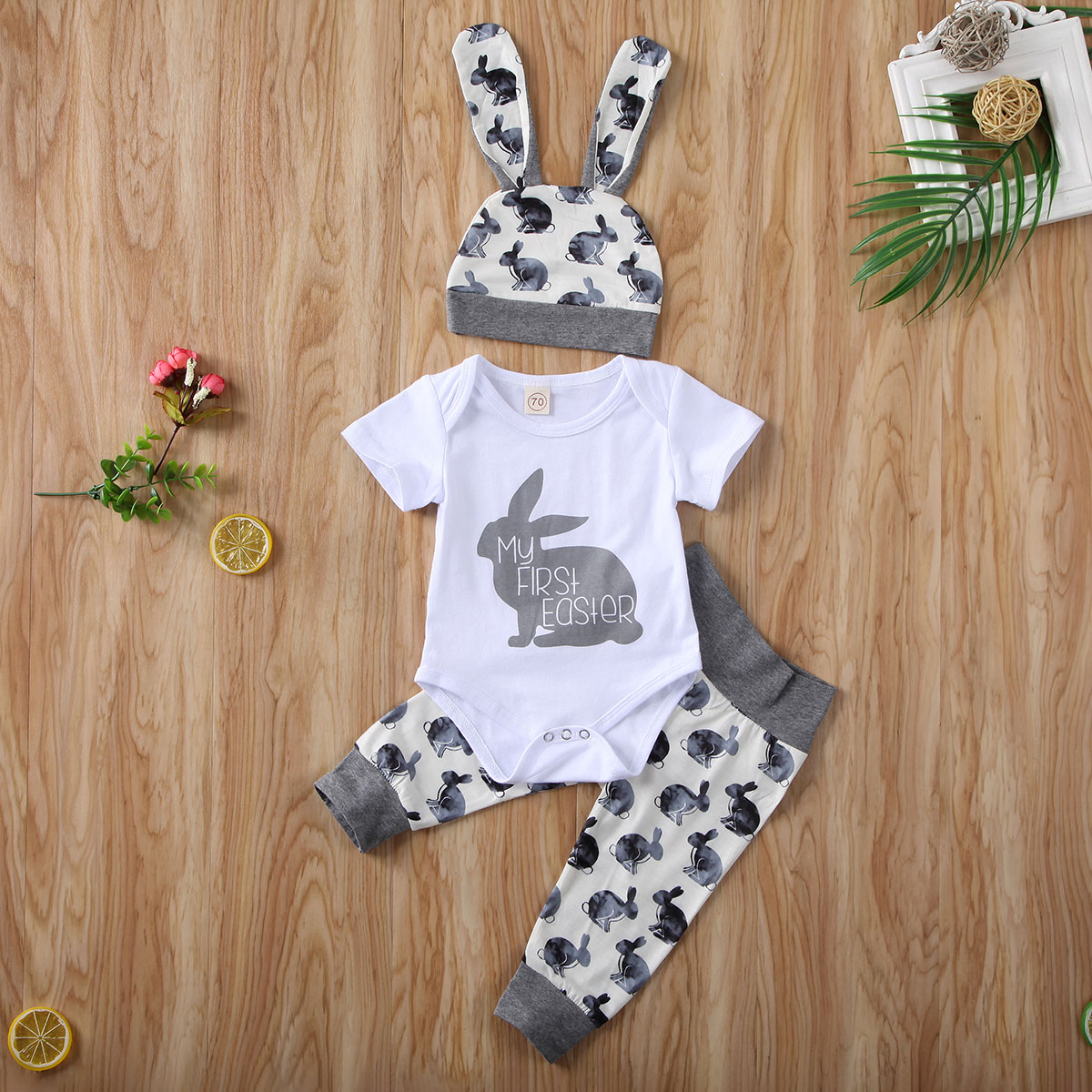 Pudcoco Newborn Baby Boy Girl Clothes My 1st Easter Print Romper Tops Long Pants Hat 3Pcs Outfits Cotton Clothes