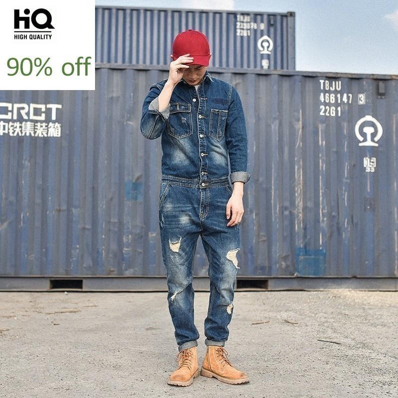 2020 Designer Fashion Mens Hole Denim Overalls Vintage Blue Jeans For Mens Harajuku Work Cargo Clothes Long Casual Streetwear