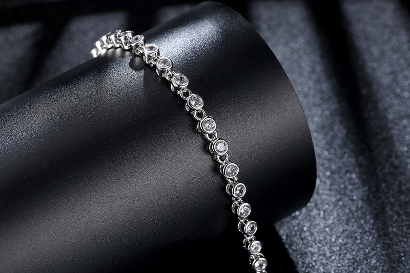 Princess Cut Chain & Link Bracelet with Created Cubic Zircon for Women Party Jewelry Birthday Gift
