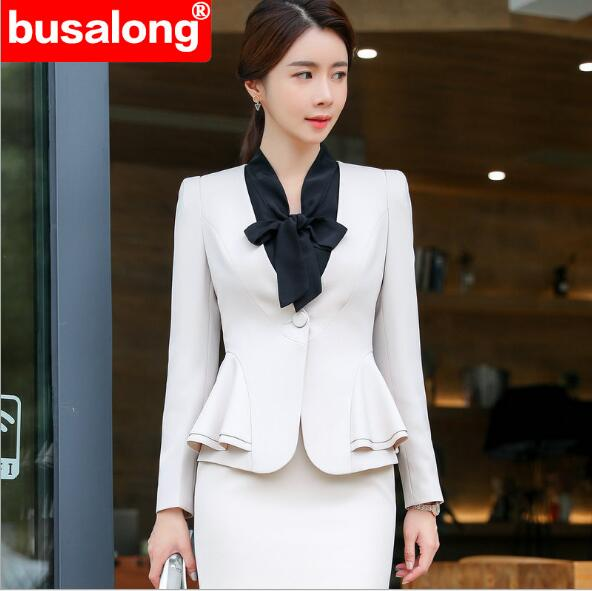2020 Summer Women's Suit Dress Long-sleeve Ruffles Two Piece Set Business Office Ladies Clothes Set Formal Suit Jacket And Skirt