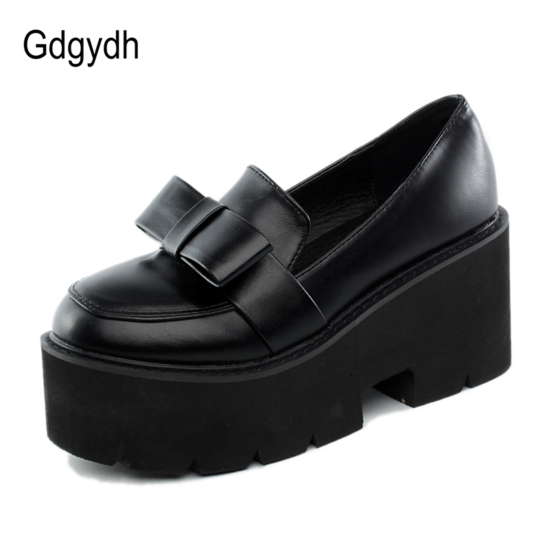Gdgydh 2020 New Spring Japanese School Shoes For Girls Block Heels Comfortable Lolita Shoes Platform College Women Shoes Bowknot