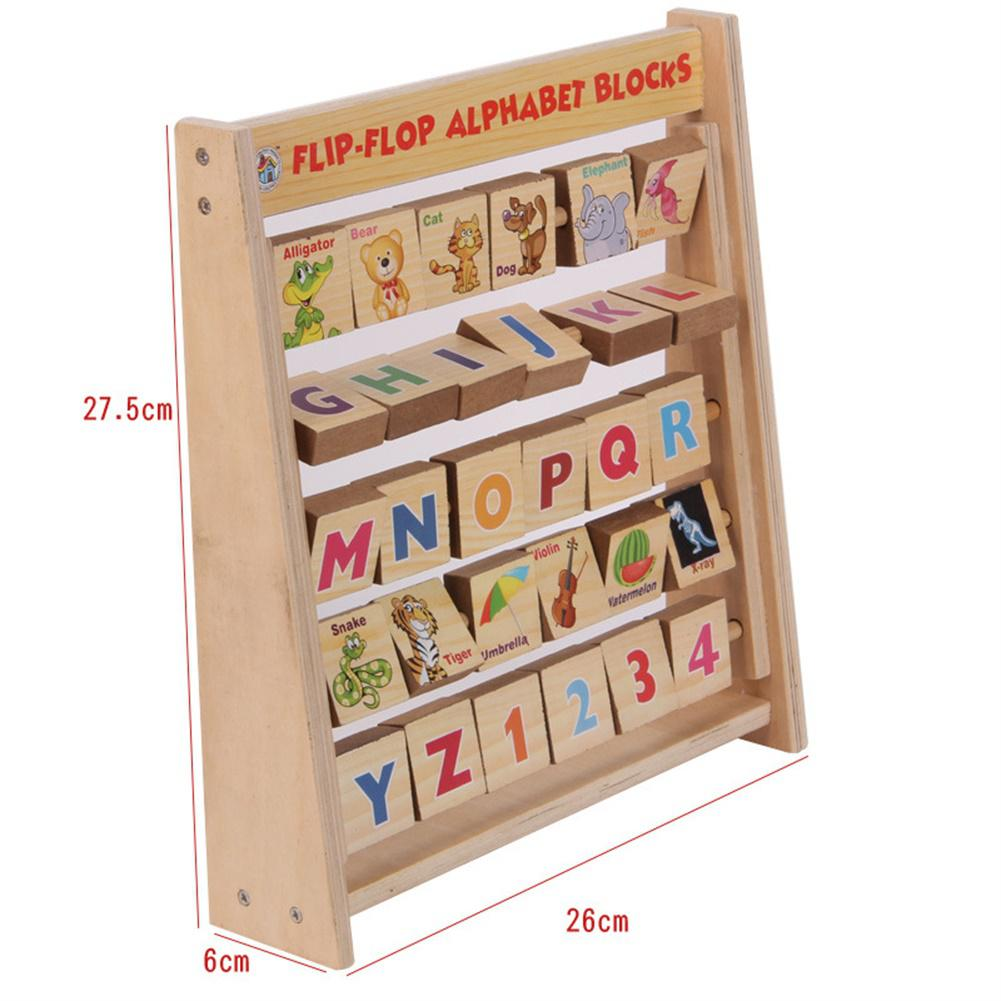 None Children Early Educational Toy English Alphabet Animals Wooden Flap Rack Vertical Bookshelf Shape