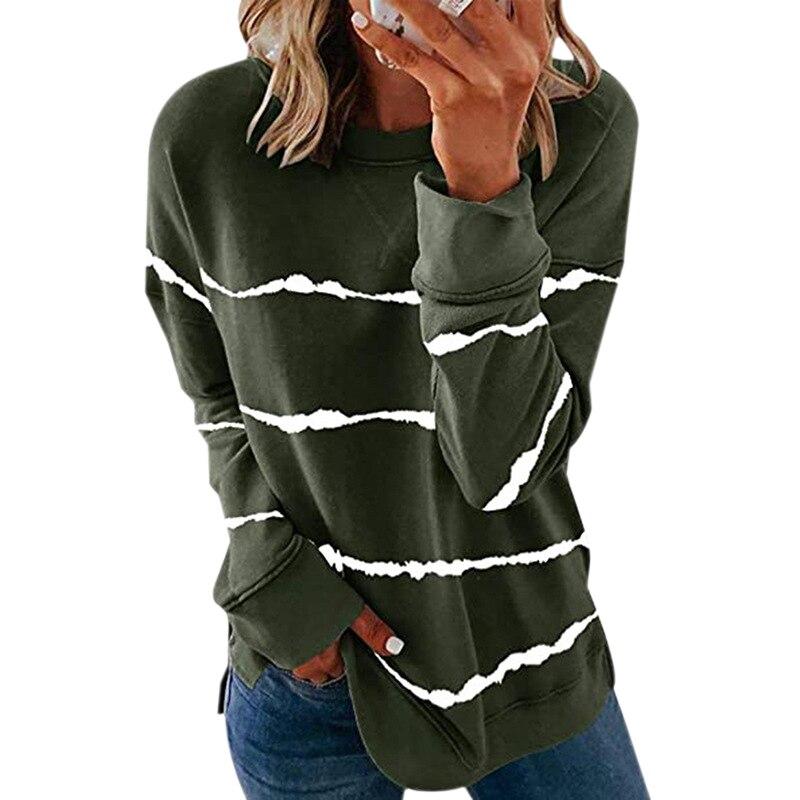 Striped Print Long Sleeve Black Hoodies Women 2020 Big Size 5XL Casual Tee Black Autumn Top O-Neck Loose Sport Ladies Hoodies 11