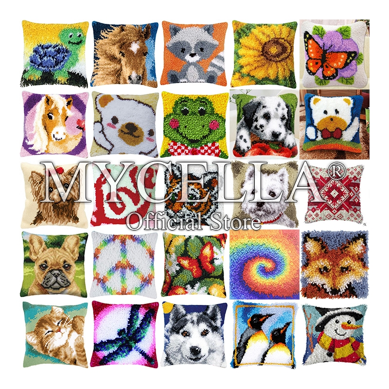 Animal Series Latch Hook Hand Embroidered Pillow cover Embroidery Material Latch Hook Rug Kits Tortoise horse cat butterfly Gift