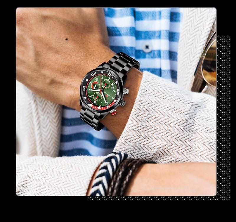 Relógio de Quartzo Bussiness Mens Chronograph Relógio
