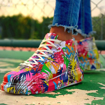 smile circle breathable mesh sneakers platform casual shoes for women 2018 autumn lace up mixed colors chunky sneakers Brand New Ladies Lace Up Graffiti Sneakers Fashion Mixed Colors Platform Women's Sneakers Casual Autumn Multicolor Shoes Woman