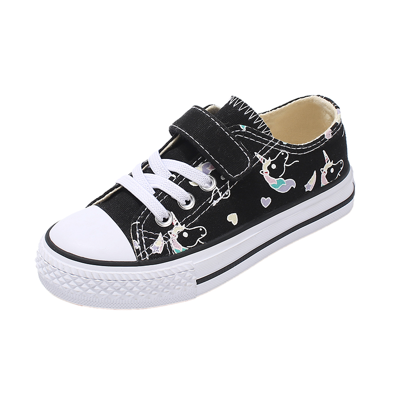 Image 2 - 2019 Fashion Kids Unicorn Canvas Sneakers Rainbow Vulcanized Shoes Hook & Loop Big Boys Shoes Girls Flat Footwear Sport TrainersSneakers   -