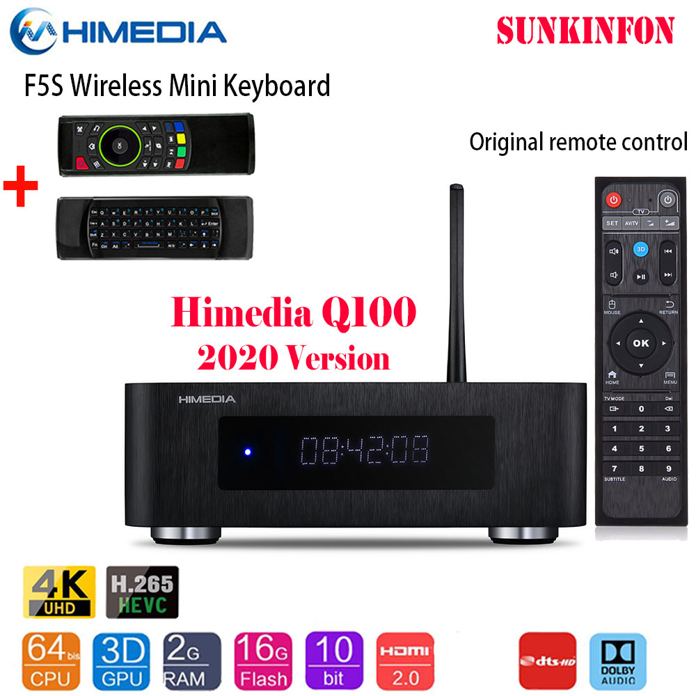 2020 High-end Himedia Q100 4K HDR 2G 16G Smart Android 7.0 TV BOX Support Dolby DTS, LED Display, 3.5