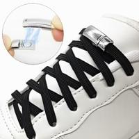 Nouveau 1 paire lacets magnétiques élastique sans cravate lacets enfants adultes baskets plates lacet métal verrouillage rapide lacets cordes Z077