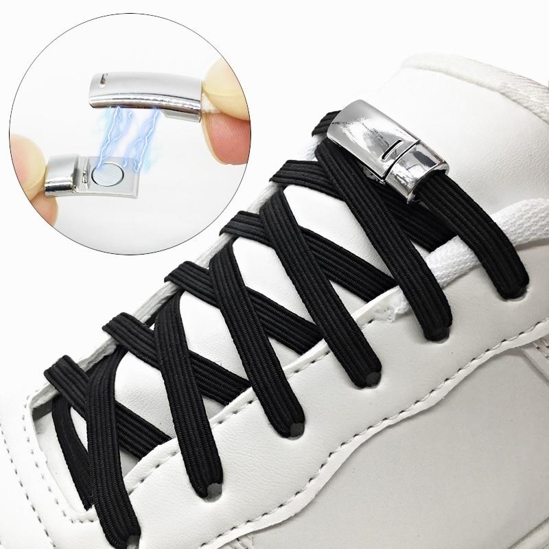 NEW 1Pair Magnetic Shoelaces Elastic No Tie Shoe Laces Kids Adult Flat Sneakers Shoelace Metal Quick Lock Laces Strings Z077