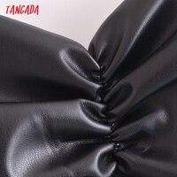 Tangada Women Black Faux Leather Short Dress Sleeveless Backless 2021 Fashion Party Dresses QN205 2