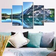 Пейзаж живопись зеленые горы зеленая вода Безрамное холст картина