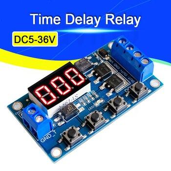 DC5-36V двойной МОП-светодиодный цифровой реле задержки времени цикл запуска таймер задержка переключатель монтажная плата синхронизации упр...