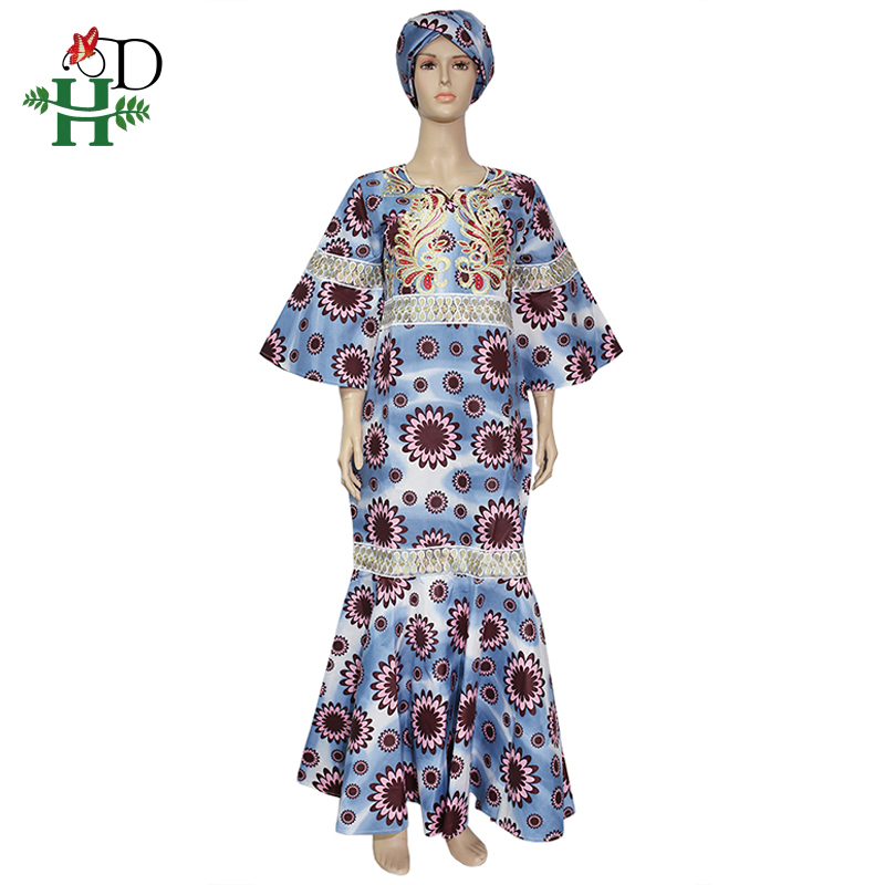 H&D Ankara Wax Dresses For Women African Wax Print Batik Long Dress Embroidery Gold Ruffles Dress Vestidos Elegantes Africanos