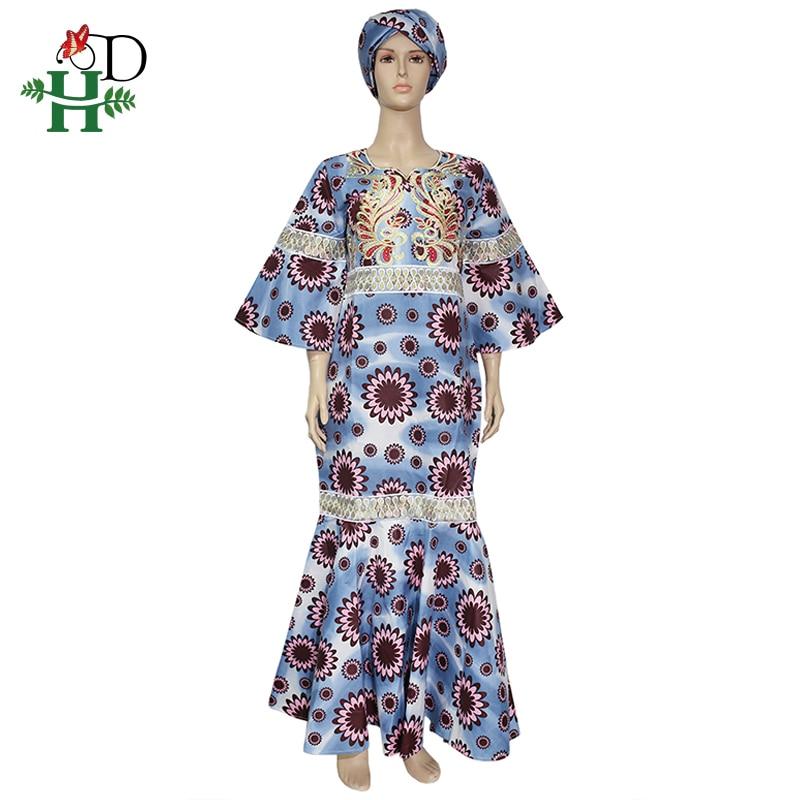 H&D Ankara Wax Dresses For Women African Wax Print Batik Long Dress Embroidery Gold Ruffles Dress Vestidos Elegantes Africanos