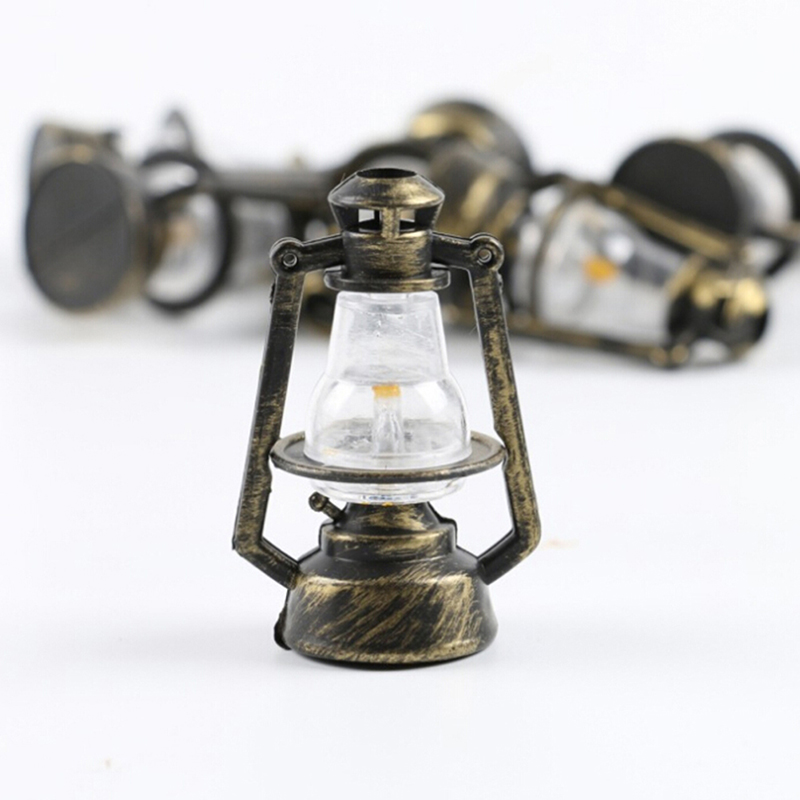 Doll House Miniature Dollhouse Accessories 1:12 Mini Oil Lamp Decor Pretend Play Toy Miniature Living Room Kids Girls Toy