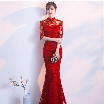 Red Lace Bride Cheongsam Long Qipao Dresses Chinese Traditional Wedding Mermaid Dress China Clothing Oriental chinese traditional dress cheongsam modern girl china dresses daily plaid qipao oriental style dresses plus size women clothing