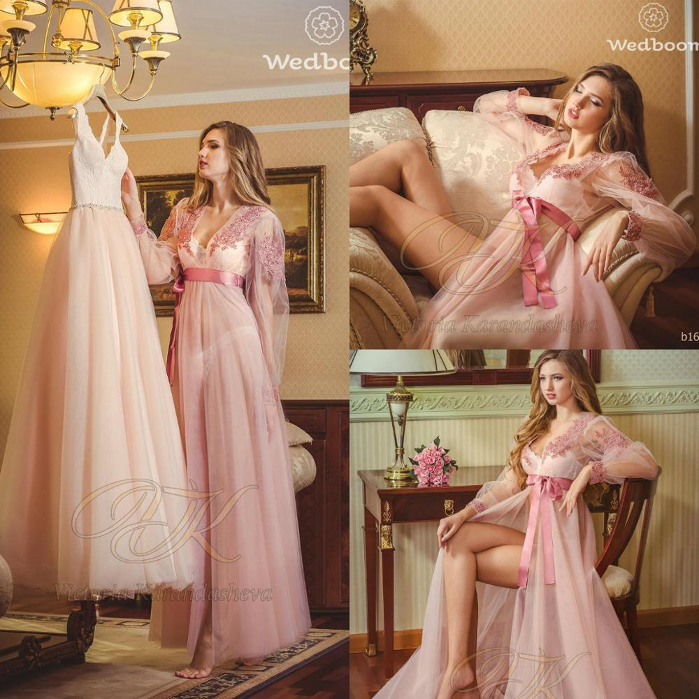 Pink Bridal Nightgown Night Dress Illusion Long Sleeves Nightgown Nightdress Women Sleepwear Nightwear For Bridal Boudoir Dress
