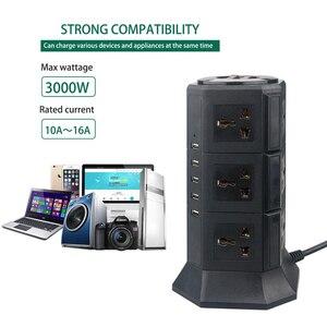 Image 4 - Usb Power Strip Verticale 8/12 Eu/Uk/Us/Au Stekker Universal Outlet Sockets Charger Surge Protector 6.6ft/2M Verlengsnoer