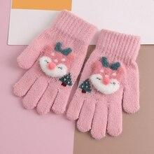 Милые детские вязаные перчатки с лося зимние детские перчатки с пятью пальцами утепленные женские перчатки митенки детские для От 4 до 8 лет