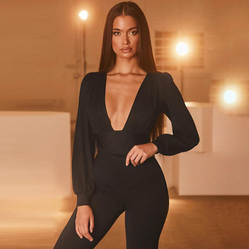2020 Autumn Winter Rompers Women Jumpsuits Sexy Club V Neck High Waist Solid Bodycon Regular Long Sleeve Female Bodysuits Women 2020 autumn winter casual jumpsuits women rompers solid sexy long sleeve o neck bodysuit bodycon rompers women bodysuits romper