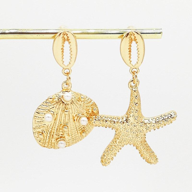 Hello Miss Fashion Ocean Wind Earrings Jewelry Shell Pearl Asymmetric Earrings Female Conch Starfish Stud Earrings in Stud Earrings from Jewelry Accessories